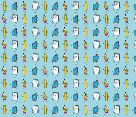 Happy Stationery Blue fabric by amywalters on Spoonflower - custom fabric
