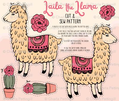 Laila the Llama cut and sew plush pattern