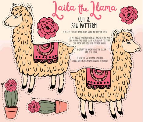 Laila the Llama cut and sew plush pattern fabric by charladraws on Spoonflower - custom fabric