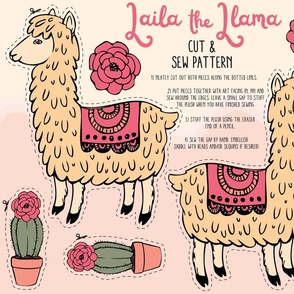Laila the Llama cut and sew plush pattern
