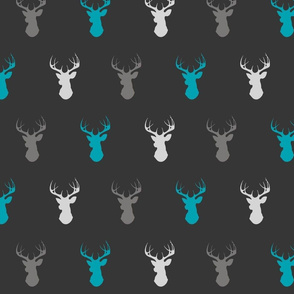 deer- teal,grey,silver on charcoal/off black