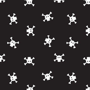 "1"" Bitty Skulls - White on black"