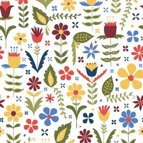folk style flowers on white