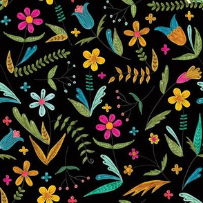 bright simple floral on black