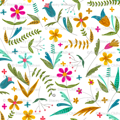 Bright Simple Floral Pattern Giftwrap Swoldham Spoonflower