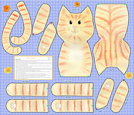Marigold Cut and Sew Cat Doll  fabric by dreamoutloudart on Spoonflower - custom fabric