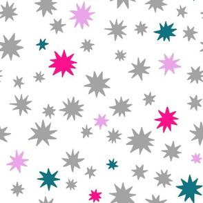 Stars - Grey + Pink + Teal