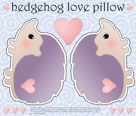 hedgehog pillow fabric by bodabe on Spoonflower - custom fabric