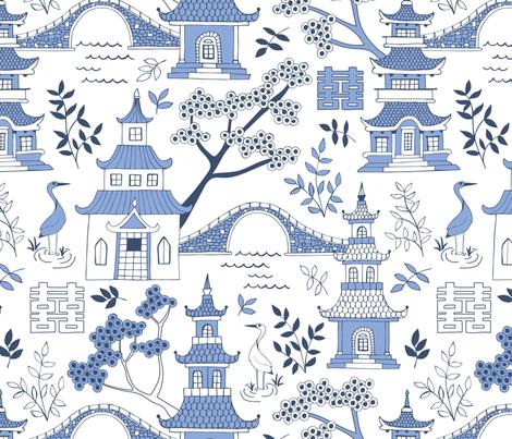 Pagodas fabric by diseminger on Spoonflower - custom fabric