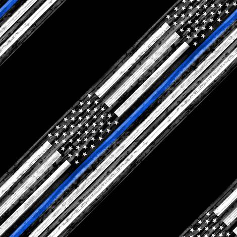 thin blue line - diagonal fabric by littlearrowdesign on Spoonflower - custom fabric