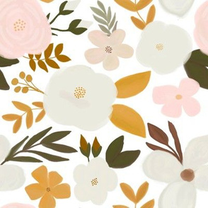 Late Fall Florals Mustard Cream
