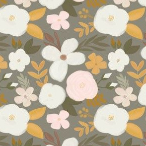 Late Fall Florals on Gray Green