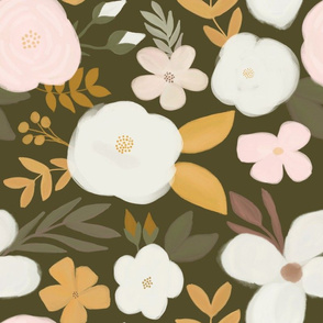 Late Fall Florals Mustard White Cream Blush