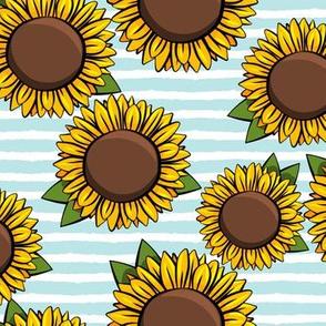Sunflowers - light blue stripes