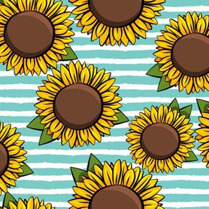 Sunflowers - aqua stripes