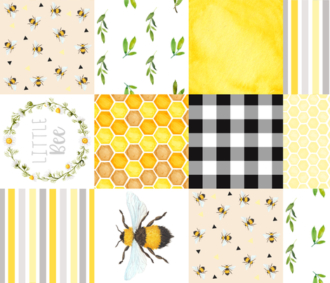 Bee 6 inch  fabric by attic_15127 on Spoonflower - custom fabric