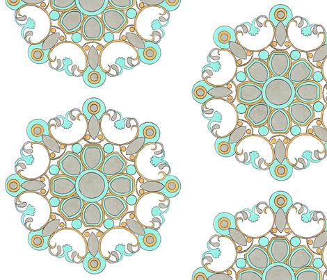 Aqua and warm gray medallion  fabric by debra_may_himes,_asid on Spoonflower - custom fabric