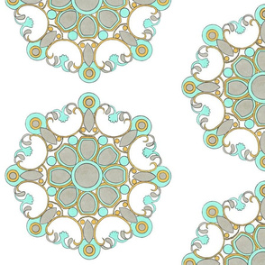 Aqua and warm gray medallion