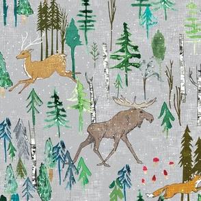Noël Animal Forest (grey) MED