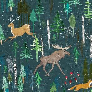 Noël Animal Forest (teal) MED