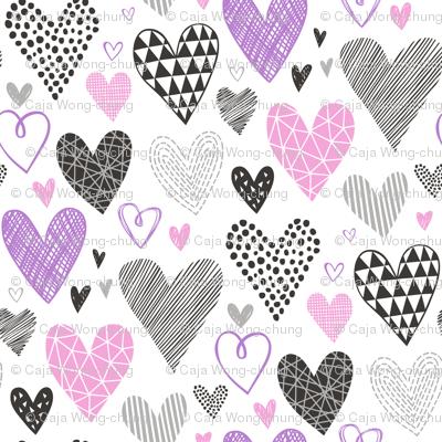 Hearts Geometrical Love Valentine Black&White Purple pink