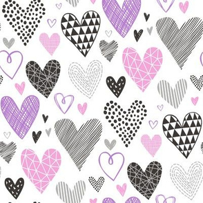 Hearts Geometrical Love Valentine Black&White Purple pink