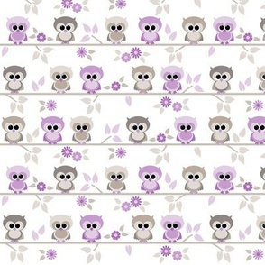 Baby owls in purple - small