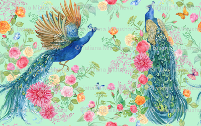peacocks and flowers