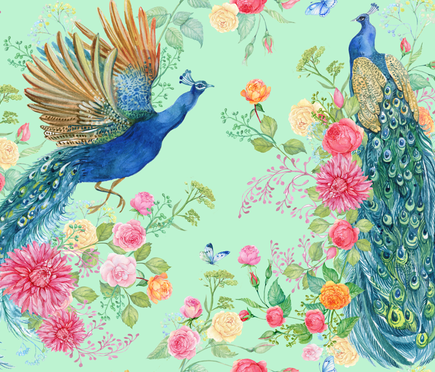 peacocks and flowers fabric by mitrushovaart on Spoonflower - custom fabric