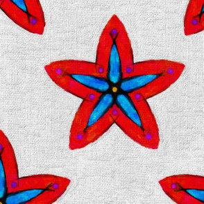 Hand Drawn Red and Blue Flower