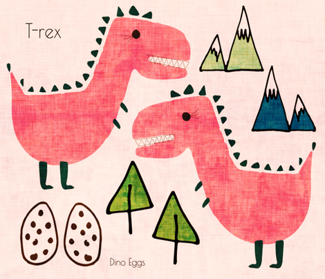 T-rex Cut and Sew text pink fabric by bruxamagica on Spoonflower - custom fabric