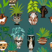 Ancient Pots and Urns teal