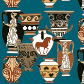 Pots and urns from Greece on teal