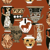 Pots and urns from Greece on terracotta