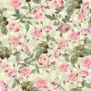 "24""  Pierre-Joseph Redouté- Pierre-Joseph Redoute- Redouté fabric,Roses fabric-Redoute roses- Victorian Moody English Pink Blush Roses - double layer on mint"