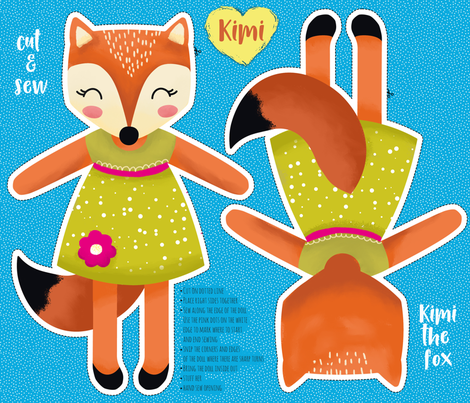 Kimi the fox- cut and sew fabric by whimsical_brush on Spoonflower - custom fabric