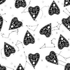 ouija planchette fabric - ouija, witch, metallic, black and white, constellation fabric, ouija fabric, witch fabric, halloween fabric - white and black