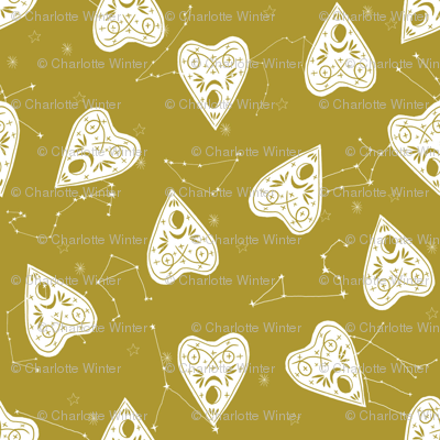ouija planchette fabric - ouija, witch, metallic, black and white, constellation fabric, ouija fabric, witch fabric, halloween fabric - olive mustard