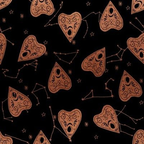 ouija planchette fabric - ouija, witch, metallic, black and white, constellation fabric, ouija fabric, witch fabric, halloween fabric - copper
