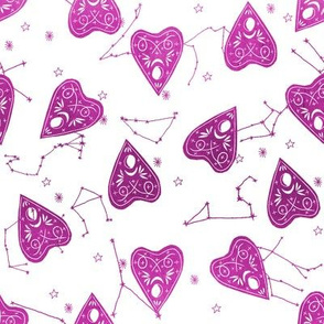 ouija planchette fabric - ouija, witch, metallic, black and white, constellation fabric, ouija fabric, witch fabric, halloween fabric - purple