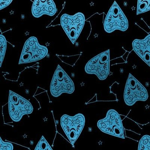 ouija planchette fabric - ouija, witch, metallic, black and white, constellation fabric, ouija fabric, witch fabric, halloween fabric - black and blue