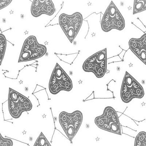 ouija planchette fabric - ouija, witch, metallic, black and white, constellation fabric, ouija fabric, witch fabric, halloween fabric - white grey