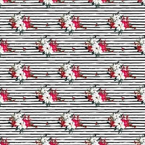 """2"""" Red and White Christmas Flowers - Black Stripes"""