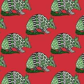 Holiday Armadillo on Red