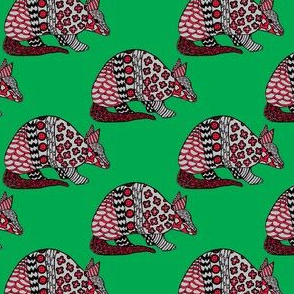 Holiday Armadillo on Green