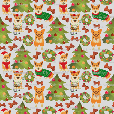 "18"" Corgis decorate the Christmas tree"