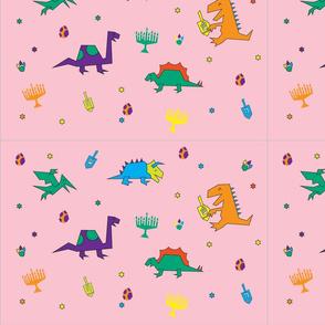 Dinos & Dreidels Pink