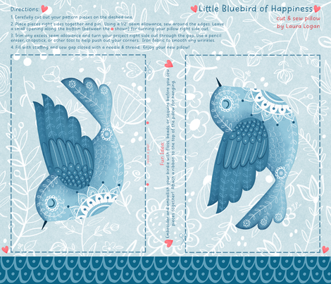 bluebird of happiness fabric by lauralogan on Spoonflower - custom fabric
