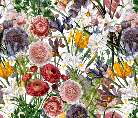 Vintage Spring Flowers On White- With double layer fabric by utart on Spoonflower - custom fabric