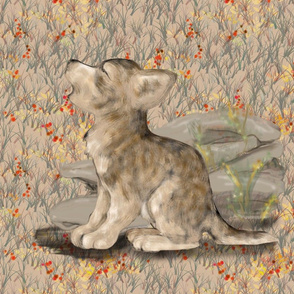 Howling Wolf Cub with Wildflowers for Pillow